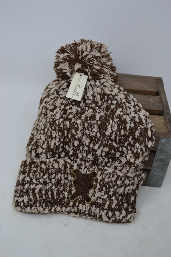 Simply Noelle Soft Knubby Knit Hat Coffee