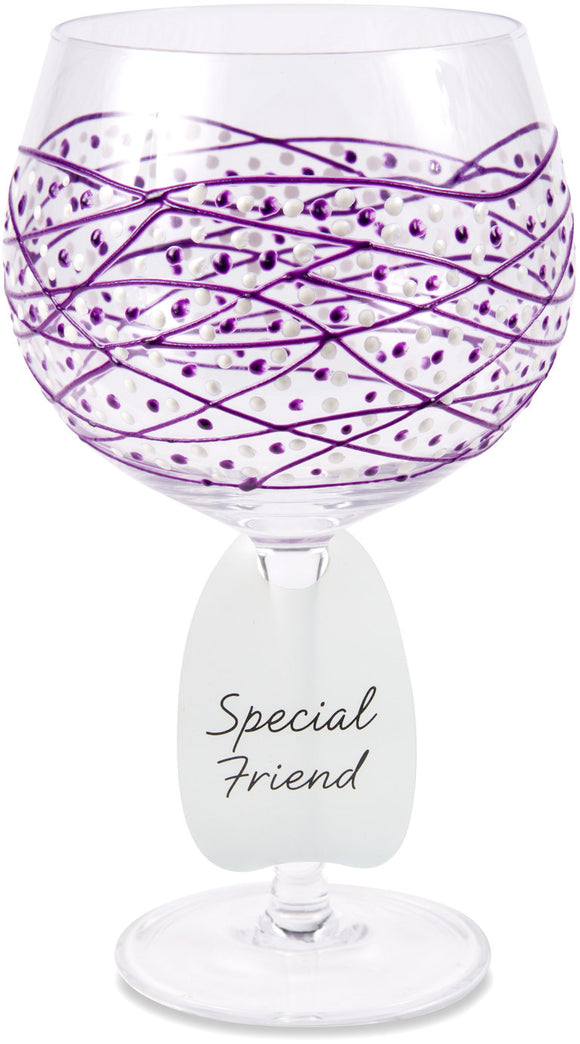 Special Friend Wine Glass with Purple Tangle Decor