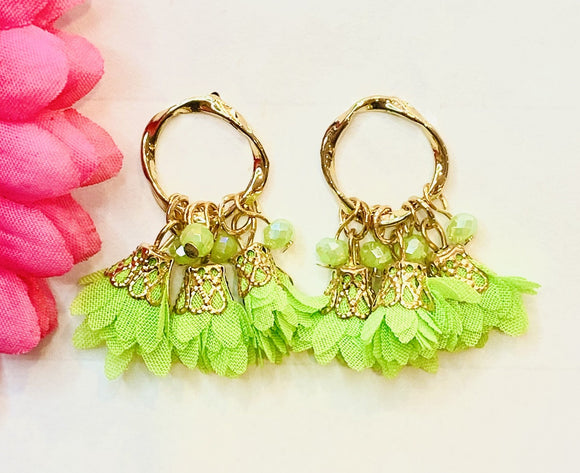 Sweet Gold Hoop Tassel Post Earrings Lime