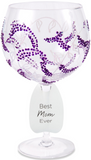 Best Mom Ever Wine Glass with Purple Flowers Decor