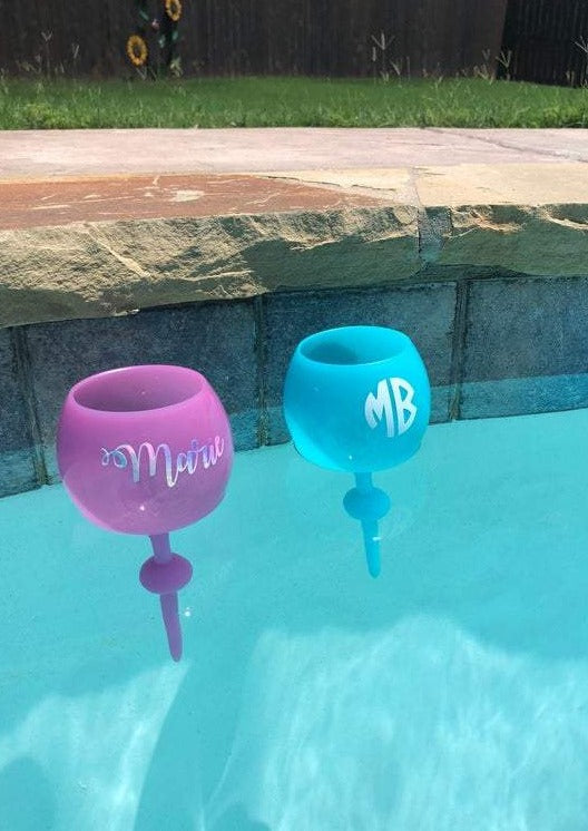 Floating Wine Glass Monogrammed