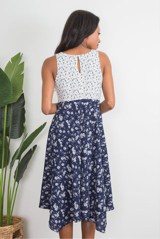 Simply Noelle Woodstock Midi Dress Navy