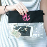 Clear Bag Game Day Wristlet/Crossbody Black Stadium Approved with Monogram