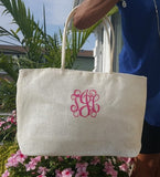 Jenn & Co. White Jute Tote Script Monogram