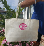 Jenn & Co. White Jute Tote Block Monogram