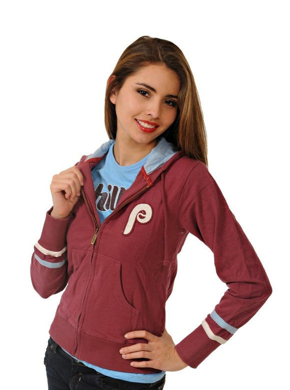 Philadelphia Phillies Throwback Maroon Zip Hoody