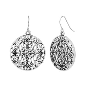 Whispers Silver Fine Filigree Dangle Earrings