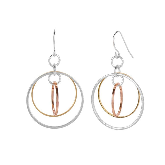 Whispers Mixed Metal Triple Hoop Earrings