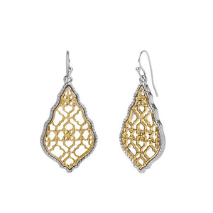 Whispers Two-Tone Lace Filigree Dangle Earrings