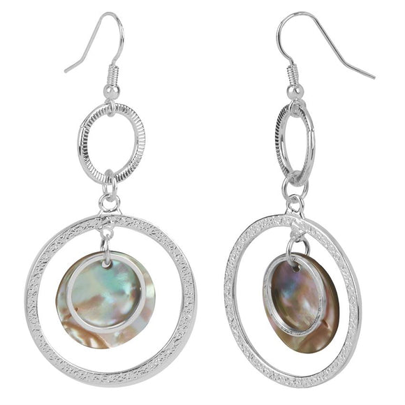 Whispers Silver Multi Circles with Abalone Dangle Earrings