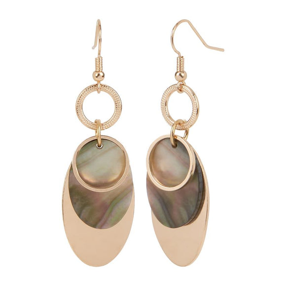 Whispers Gold Overlay with Abalone Dangle Earrings