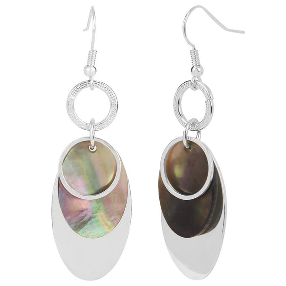 Whispers Silver Overlay with Abalone Dangle Earrings