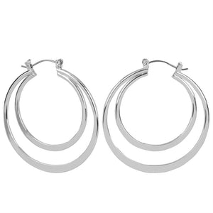 Whispers Silver Interlocking Hoop Earrings