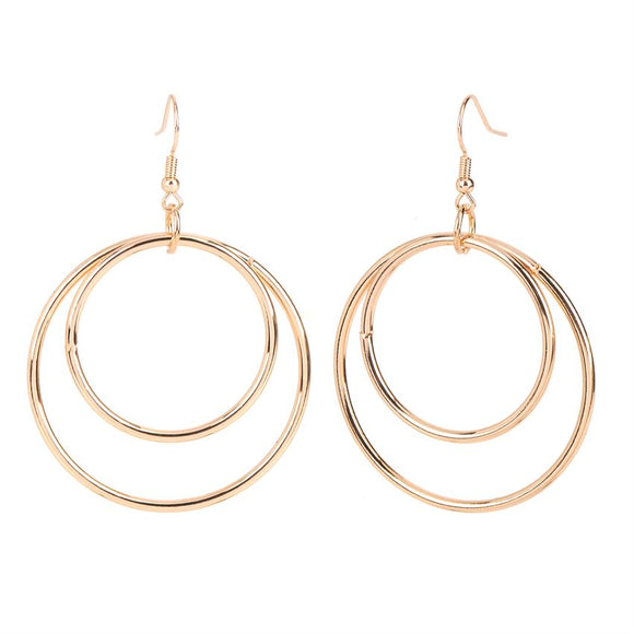 Whispers Gold Double Circles Dangle Earrings