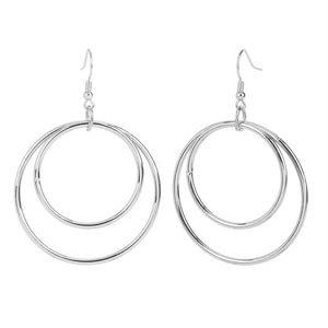 Whispers Silver Double Circles Dangle Earrings