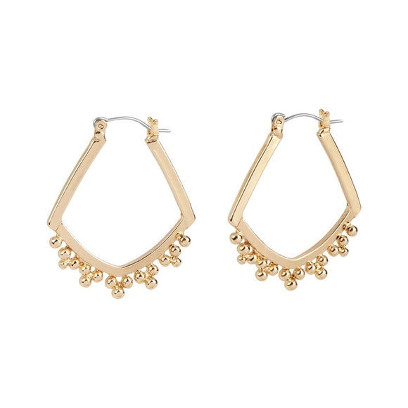 Whispers Gold Rhombus Ball Hoop Earrings