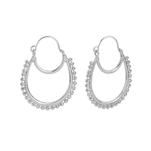 Whispers Silver Double Crescent Ball Hoop Earrings