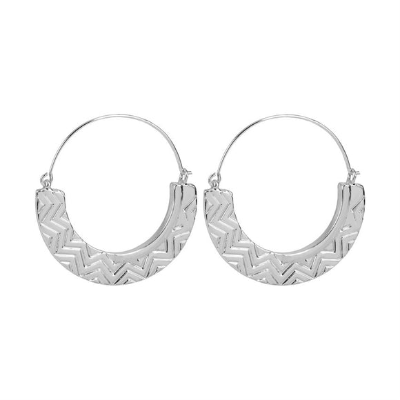 Whispers Silver Textured Hoop Earrings