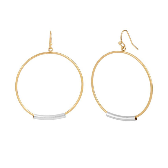 Whispers Gold Hoop with Metal Bar Earrings
