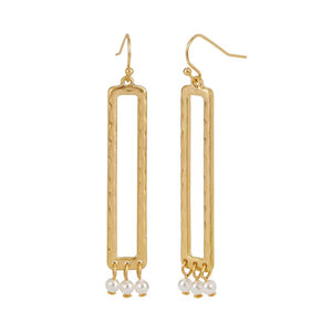 Whispers Gold Rectangle with Faceted Dangle Earrings
