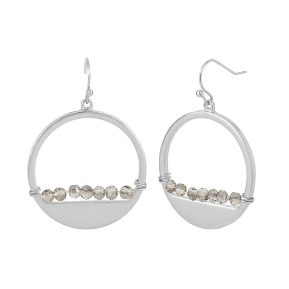 Whispers Silver Hoop with Faceted Bar Dangle Earrings