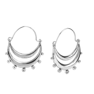 Whispers Silver Crescent with Ball Hoop Earrings