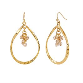 Whispers Gold Tear Drop with Faceted Dangle Earrings