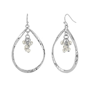 Whispers Silver Tear Drop with Faceted Dangle Earrings