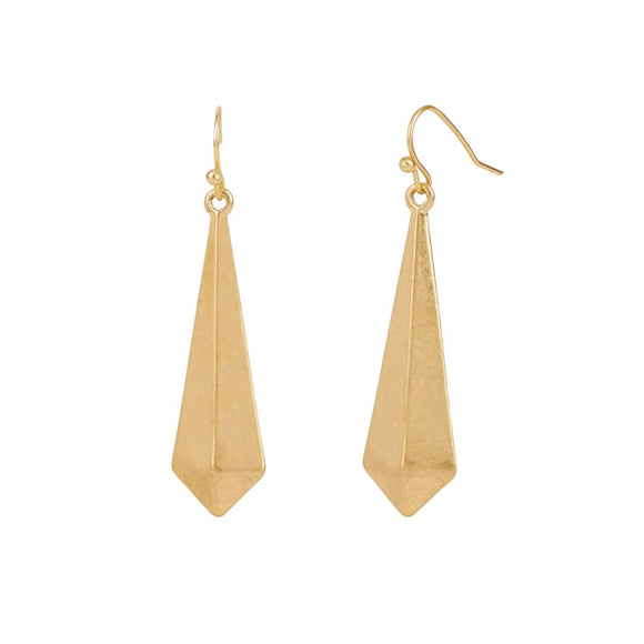 Whispers Gold 3D Triangle Dangle Earrings