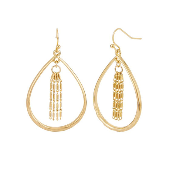 Whispers Gold Tear Drop with Chain Dangle Earrings