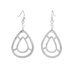 Whispers Silver Mosaic Tear Drop Earrings