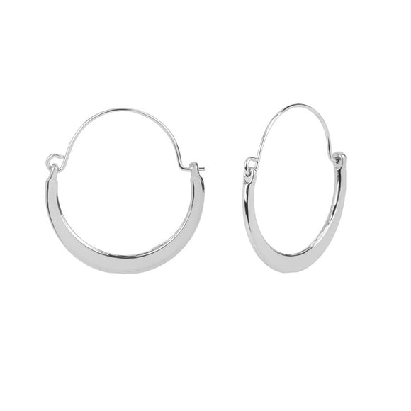 Whispers Silver Flat Crescent Hoop Earrings