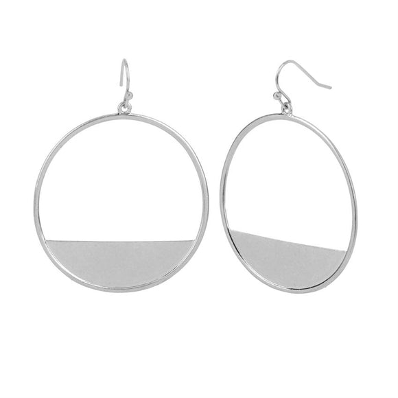 Whispers Silver Crescent Block Hoop Earrings