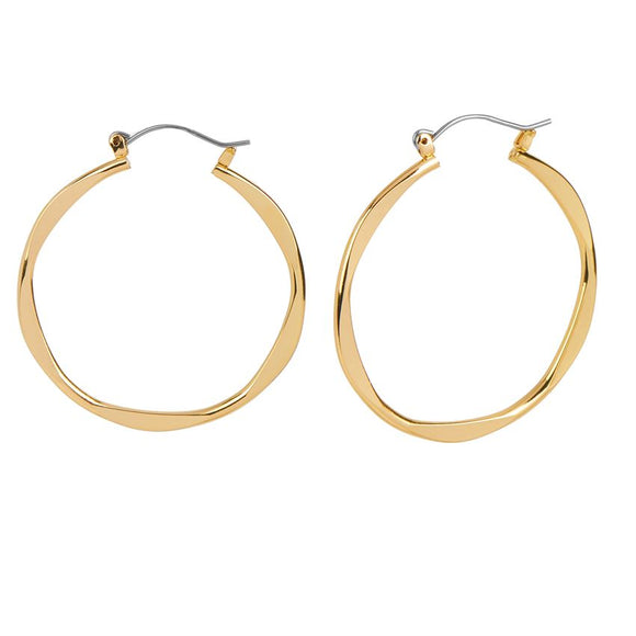 Whispers Gold Wavy Hoop Earrings