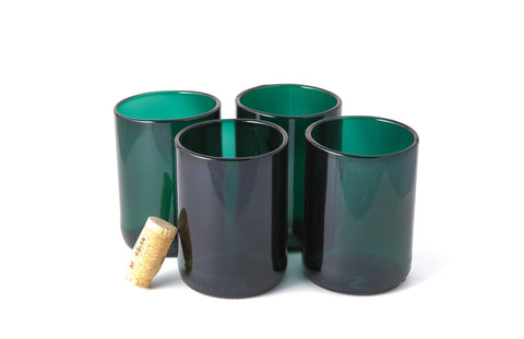 Teal Flat Bottom 12oz Recycled Wine Bottle Glasses