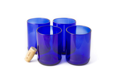 Blue Flat Bottom 12oz Recycled Wine Bottle Glasses