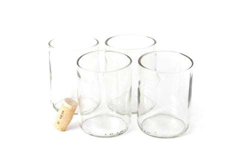 Clear Flat Bottom 12oz Recycled Wine Bottle Glasses