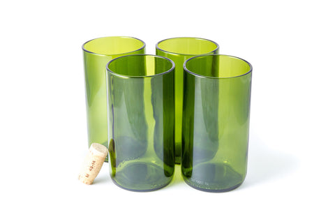 Green Flat Bottom 16oz Recycled Wine Bottle Glasses