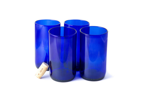 Blue Flat Bottom 16oz Recycled Wine Bottle Glasses