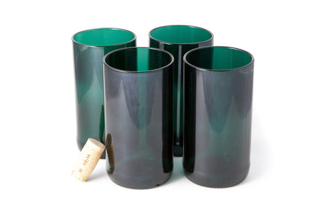 Teal Flat Bottom 16oz Recycled Wine Bottle Glasses