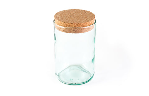 "6"" Aqua Cork Top Recycled Wine Bottle Canister"