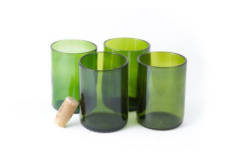 Green Flat Bottom 12oz Recycled Wine Bottle Glasses