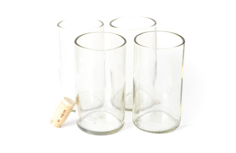 Clear Flat Bottom 16oz Recycled Wine Bottle Glasses