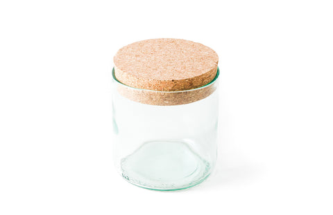 "4"" Aqua Cork Top Recycled Wine Bottle Canister"