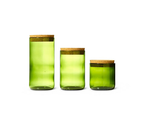 Kelly Trio - Cork Top Recycled Wine Bottle Canister Set