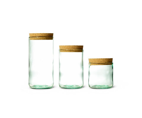 Aqua Trio - Cork Top Recycled Wine Bottle Canister Set