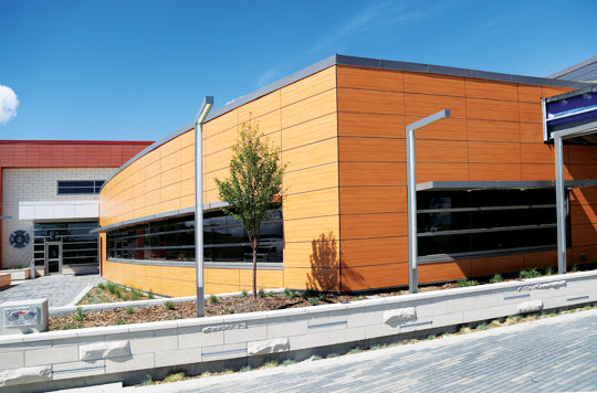 Royal Vista Multi-Service Facility in Calgary. http://www.bird.ca/News-and-Media/news-263.html Cladding: Trespa ® Image Source: http://www.bird.ca/News-and-Media/news-263.html