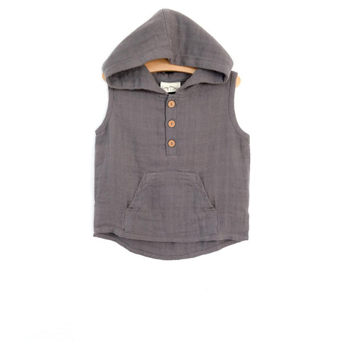 City Mouse Steel Muslin Hooded Henley - The Milk Moustache