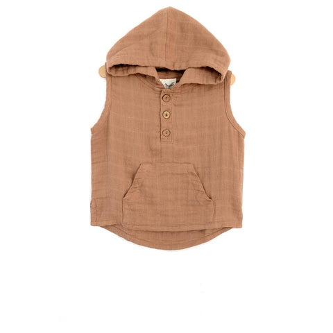 City Mouse Latte Muslin Hooded Henley - The Milk Moustache