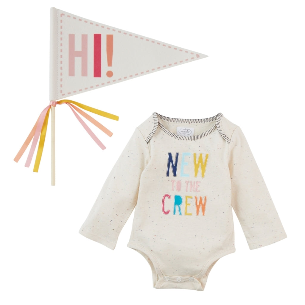 New To The Crew Onesie and Pennant Set - Blue & Pink - The Milk Moustache